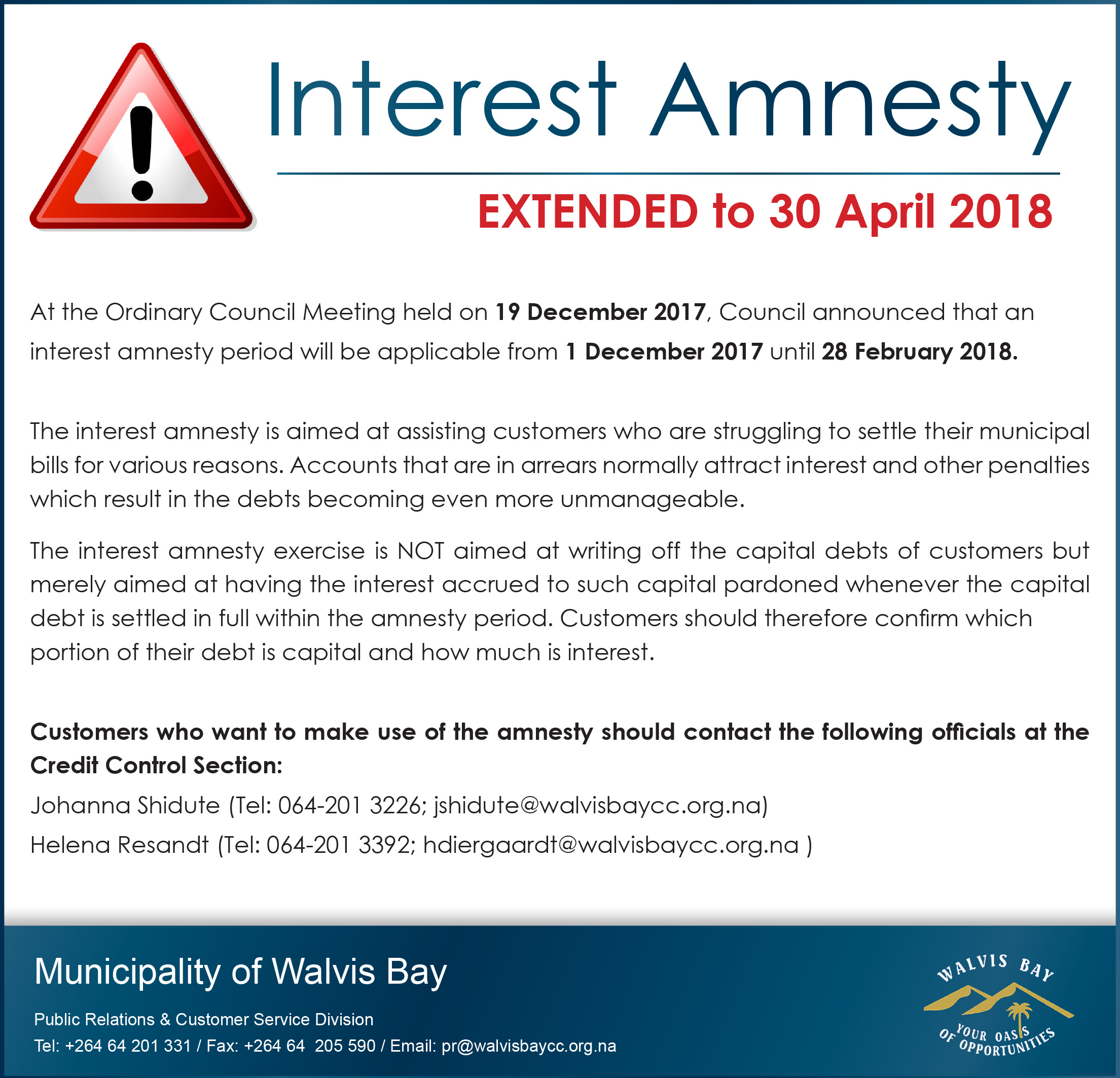 18x5 Extended Interest Amnesty 28 March 2018